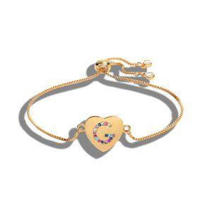 """Gold Heart Letter """"G"""" Initial Name CZ Bracelet"""
